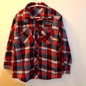 Checkered boys plaid button down shirt size 5